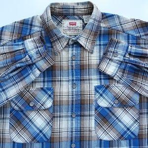Levi Strauss & Co Mens Sz L Vtg Flannel Work Shirt